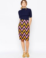 Traffic People Pencil Skirt In Chevron Print