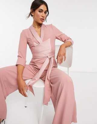 Asos DESIGN plunge tux jumpsuit with wide leg in blush