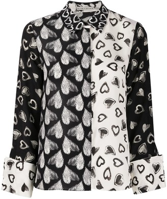 Alice + Olivia Silk Heart Print Blouse