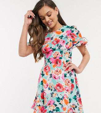 Brave Soul Petite bimba mini dress with ruffle hem in floral print