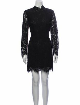 Ganni Lace Pattern Mini Dress Black