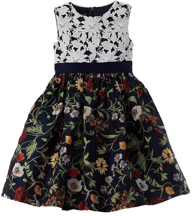 Thumbnail for your product : Oscar de la Renta Lace & Mixed Botanical Dress