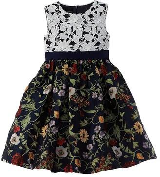 Oscar de la Renta Lace & Mixed Botanical Dress