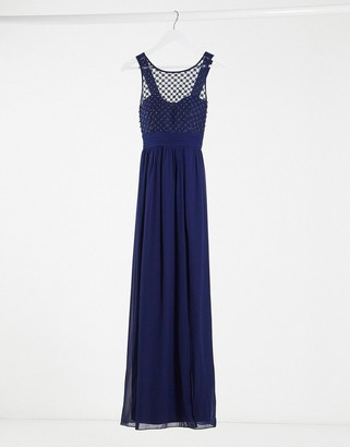 Little Mistress Bridesmaid chiffon maxi dress with pearl embellishment in navy