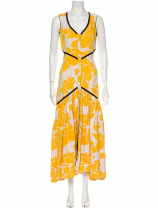 Alexis Floral Print Long Dress w/ Tags Yellow