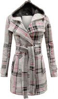 Envy Boutique Womens Belted Button Coat Hood Jacket Top