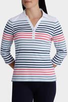 Stripe Rib 3/4 Sleeve Polo