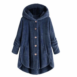 Celucke Womens Plus Size Button Plush Tops Hooded Loose Cardigan Wool Coat Winter Jacket Navy