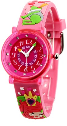 Baby Watch Baby Educational Queen Girl WatchQuartzPink Dial Pink Plastic Strap Watch606078