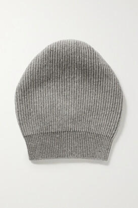 Brunello Cucinelli Sequin-embellished Metallic Ribbed-knit Beanie - Gray