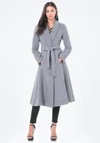 Bebe Belted Wrap Midi Coat