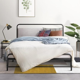 Mellow NOMADI Metal Platform Bed with Patented Bifold Assembly and Fabric Headboard, Cloud Grey