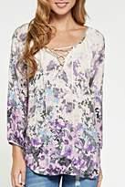 Love Stitch Lovestitch Lace-Up Floral Blouse