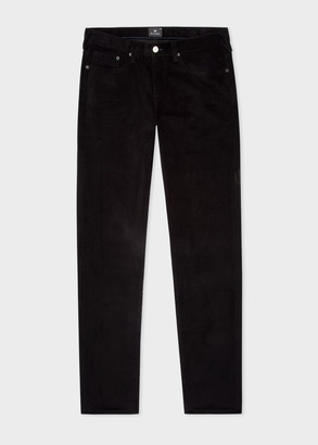 Men's Tapered-Fit Black Corduroy Five Pocket Trousers