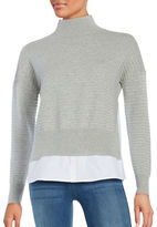 French Connection Ribbed Mock Layer Top