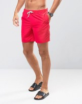 Asos Swim Shorts In Red Mid Length