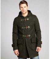 Cockpit olive wool blend hooded toggle coat