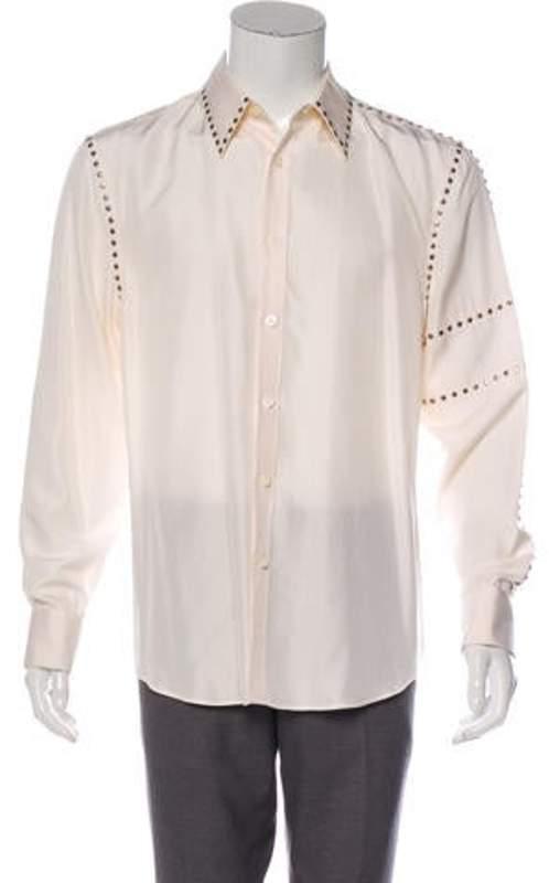 Gianni Versace Embellished Dress Shirt silver Embellished Dress Shirt