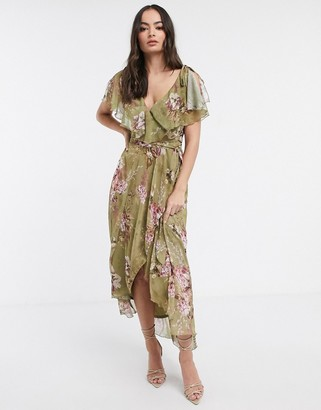 ASOS DESIGN split sleeve cape back dipped hem maxi dress with tie shoulder in vintage bouquet floral