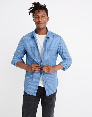 Madewell Long-Sleeve Workshirt in Indigo Stripe