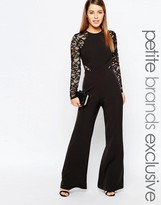 John Zack Petite Lace Sleeve And Back Detail Jumpsuit