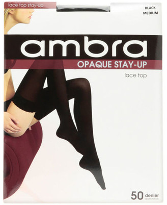 Ambra Opaque Stay Up Black Tight Black
