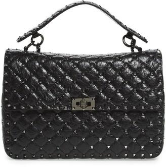 Valentino Rockstud Leather Top Handle Satchel