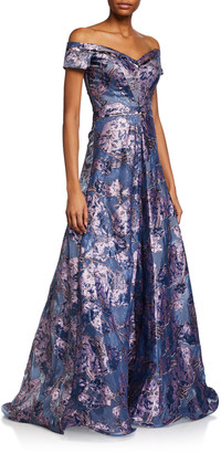 Rene Ruiz Collection Off-the-Shoulder Brocade A-Line Gown