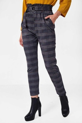 Mae Iclothing iClothing Paperbag Waist Trousers in Navy Check