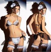 Lovef Sexy Lingerie Lovef Women Mesh Sexy Racy Underwear Maid Uniforms Temptation Underwear Bra Sets