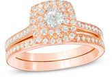 Zales 3/4 CT. T.W. Diamond Double Cushion Frame Bridal Set in 10K Rose Gold