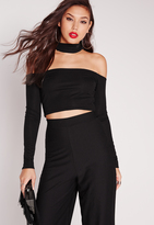 Missguided Choker Ribbed Crop Top Black