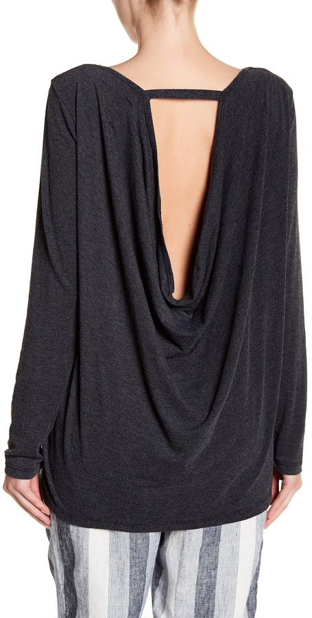 Allen Allen Drape Back Long Sleeve Shirt