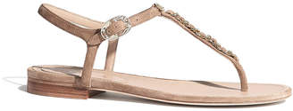 Chanel Flat Suede Thong W Chain Detail