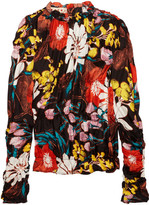 Marni Ruched Floral-print Silk-twill Top - Black