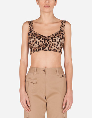 Dolce & Gabbana Short Bustier Top In Charmeuse With Leopard Print
