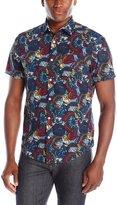 Original Penguin Men's Short Sleeve Butterfly Camo Print Woven Shirt