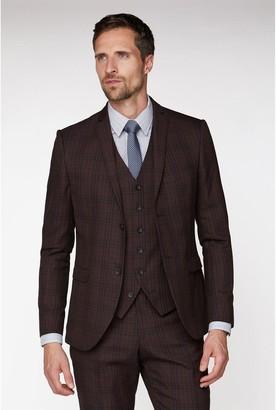 Jeff Banks Bold Check Brit Suit Jacket In Super Slim Fit - Burgundy