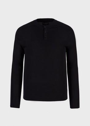 Emporio Armani Virgin-Wool, Knit Henley Shirt