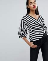 Missguided Striped Exaggerated Sleeve Wrap Top