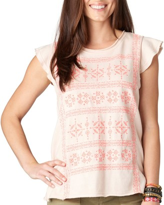 Democracy Women's French Terry Knit Top with Pinafore Sleeves and Contrast Stitching