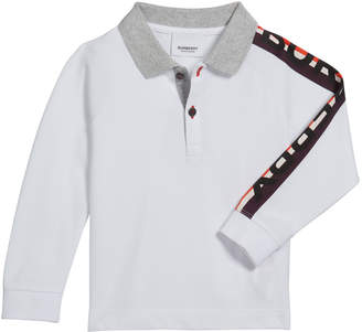 Burberry Boy's Duncan Polo Shirt w/ Logo Down Sleeve, Size 3-14