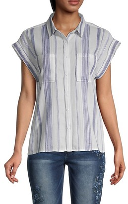 Miss Me Striped Cotton Shirt