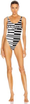 Balmain Horizontal Stripes Low-Cut Swimsuit in Black & White | FWRD