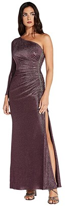 Adrianna Papell One Shoulder Metallic Knit Side Draped Mermaid Gown (Amethyst) Women's Dress