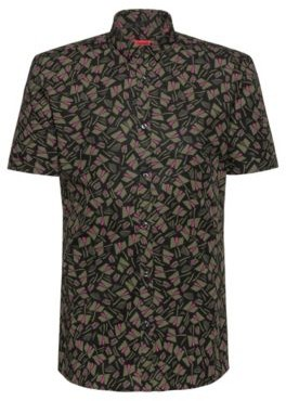 HUGO BOSS Short Sleeved Extra Slim Fit Shirt In Printed Cotton - Khaki