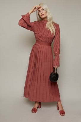 Little Mistress Haven Deep Mink Spot Pleated Midaxi Dress