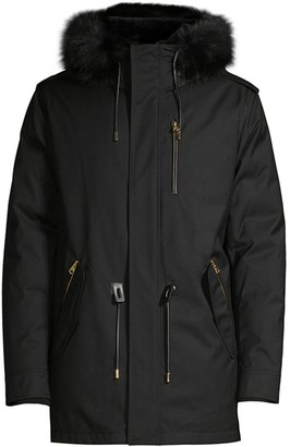 Mackage Seth Blue Fox & Rabbit Fur-Trim Down Parka Coat