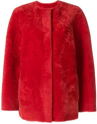 P.A.R.O.S.H. Collarless Shearling Jacket