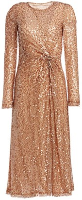 Galvan Pinwheel Sequin Twist-Front Dress